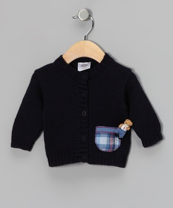 Navy Bear Knit Cardigan - Infant