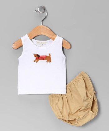 White Dog Tank & Khaki Diaper Cover - Infant