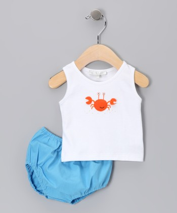White Crab Tank & Ocean Diaper Cover - Infant