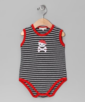 Silver & Charcoal Stripe Pirate Bodysuit - Infant