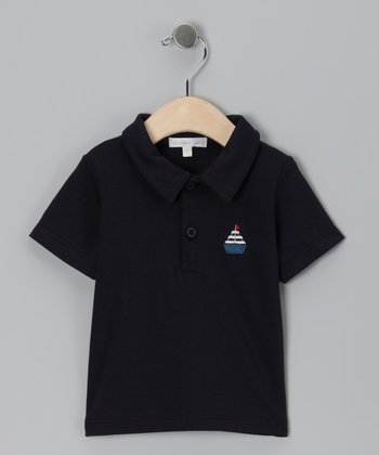 Navy Sailboat Polo - Toddler & Boys