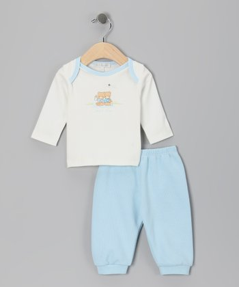 White 'Snack Time' Tee & Blue Pants - Infant