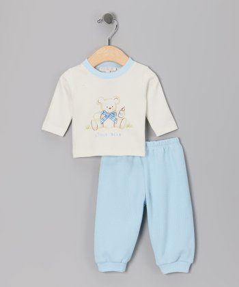 White 'Little Bear' Tee & Blue Pants - Infant