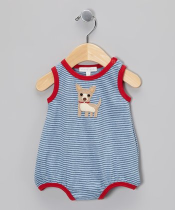 Blue & Red Stripe Chihuahua Bubble Bodysuit - Infant