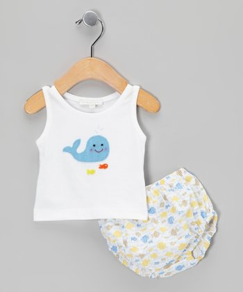 White Whale Tank & Fish Diaper Cover - Infant