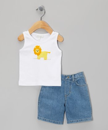 White Lion Tank & Denim Shorts - Infant