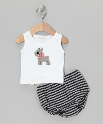 White Scottie Dog Tank & Black Stripe Diaper Cover - Infant