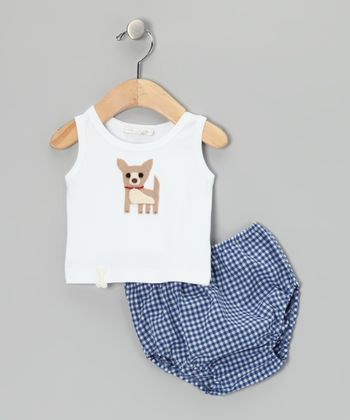White Chihuahua Tank & Blue Gingham Diaper Cover - Infant
