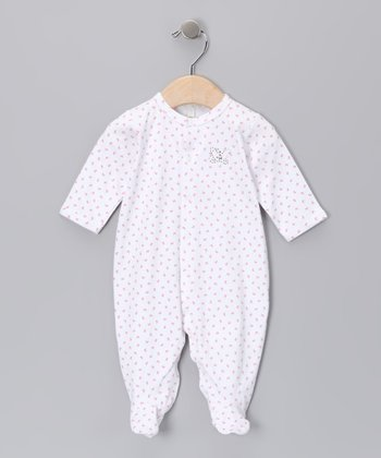 White & Pink Butterfly Footie - Infant