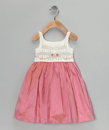 Off-White & Fuchsia Silk-Blend Dress - Infant