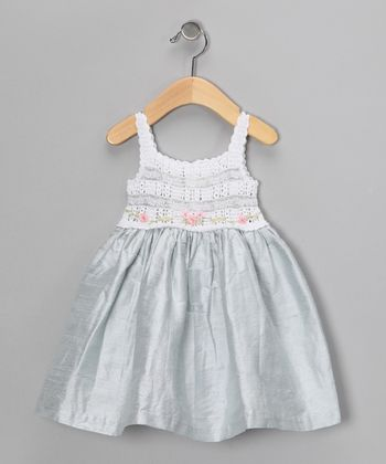 White & Blue Silk-Blend Dress - Infant