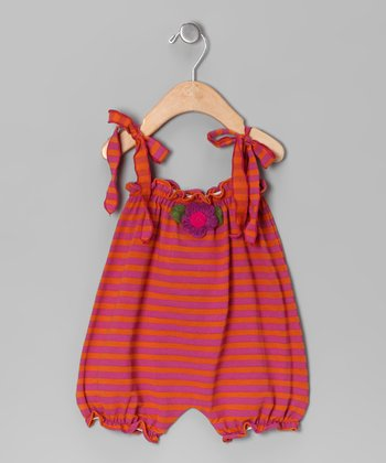 Fuchsia & Orange Stripe Bubble Romper - Infant