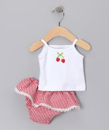 White Strawberry Camisole & Ruffle Diaper Cover - Infant