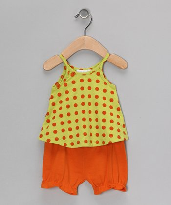 Lime & Orange Polka Dot Swing Top & Bloomers - Infant