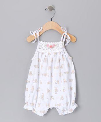 White Crocheted Bubble Romper - Infant