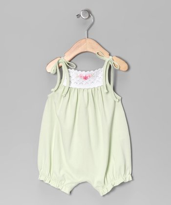 White & Green Crocheted Bubble Romper - Infant