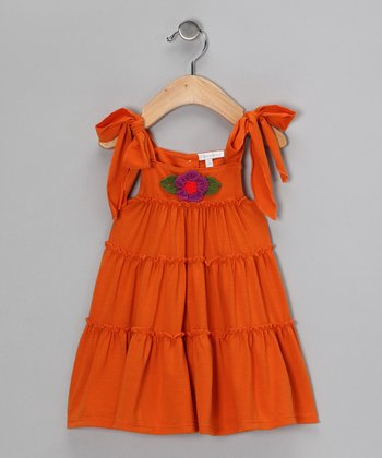 Orange A-Line Dress - Infant