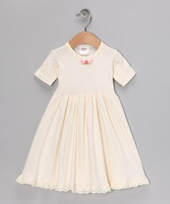 Ecru Flower Pleated Dress - Toddler & Girls