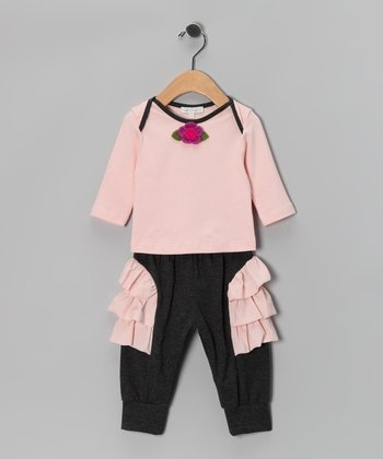 Pink Flower Tee & Charcoal Ruffle Pants - Infant