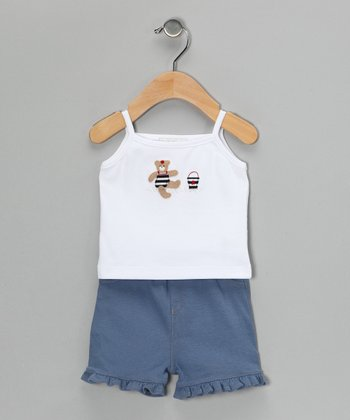 White Beach Teddy Tank & Denim Blue Shorts - Infant