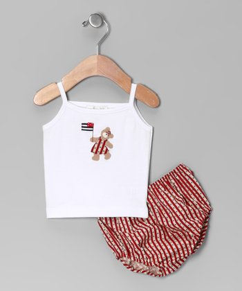 White Star Tank & Red Stripe Diaper Cover - Infant