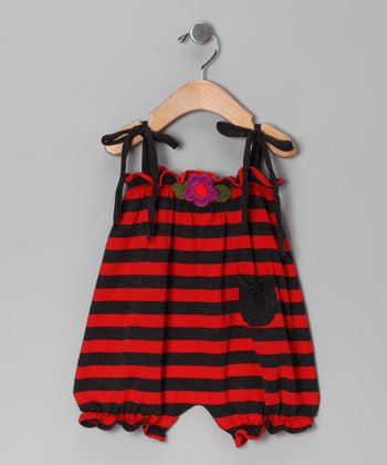 Red & Charcoal Flower Stripe Bubble Romper - Infant