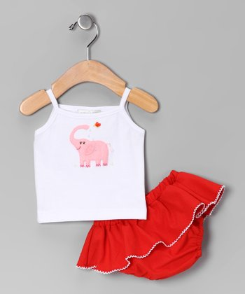 White Elephant Tank & Red Skirted Diaper Cover - Infant