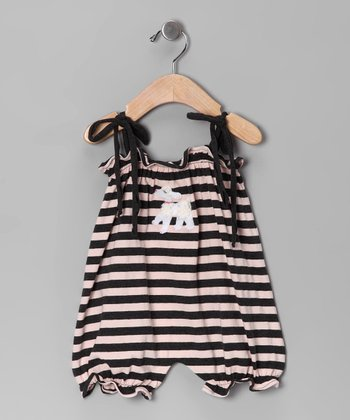 Pink & Charcoal Stripe Poodle Bubble Romper - Infant
