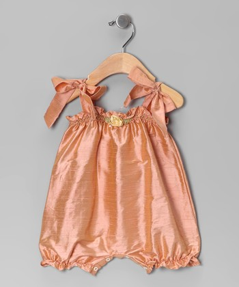 Peach Flower Silk Bubble Romper - Infant