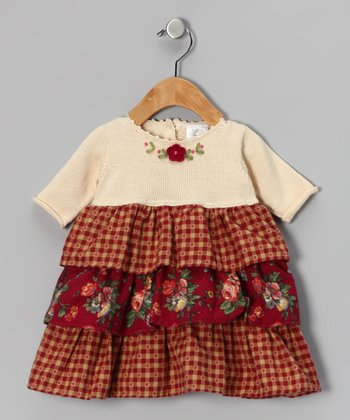 Ecru & Burgundy Tiered Dress