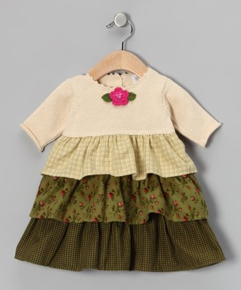 Ecru & Green Tiered Dress