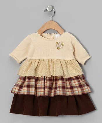 Ecru & Brown Tiered Dress