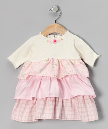 Off-White & Pink Tiered Dress