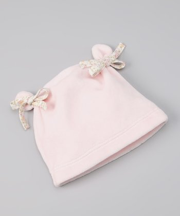 Pink Velour Bow Double-Knot Beanie