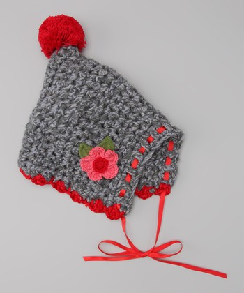 Gray & Red Flower Crocheted Pom-Pom Bonnet