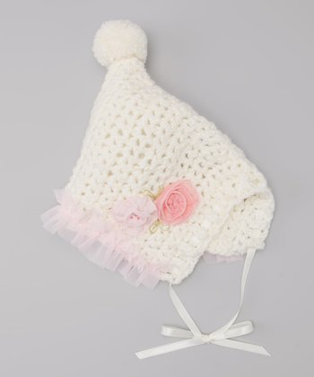 Off-White Rosette Crocheted Pom-Pom Bonnet