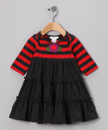Red & Charcoal Stripe Dress - Infant