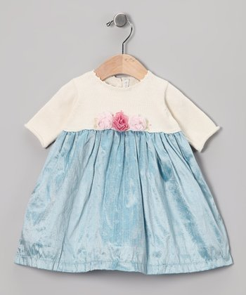 Off-White & Aqua Silk-Blend Dress - Infant, Toddler & Girls