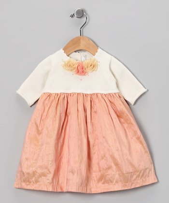 Peach Flower Silk-Blend Dress - Infant, Toddler & Girls