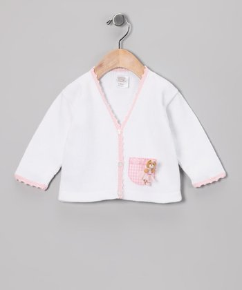 White & Pink Bear Cardigan - Infant