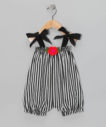 Black & White Stripe Flower Bubble Romper - Infant