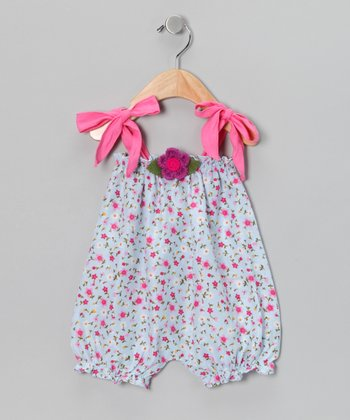 White & Pink Floral Bubble Romper - Infant