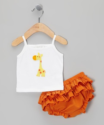 White Giraffe Camisole & Orange Ruffle Diaper Cover - Infant