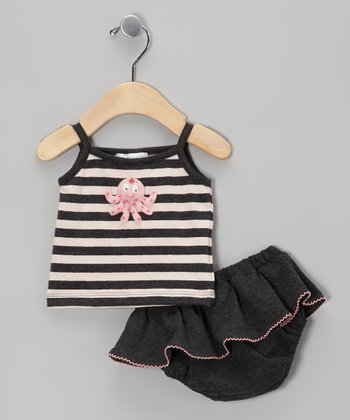 Charcoal Octopus Tank & Skirted Diaper Cover - Infant