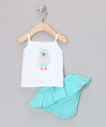 White Owl Tank & Turquoise Skirted Diaper Cover - Infant