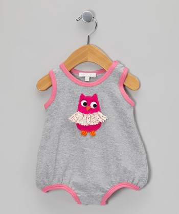 Silver & Fuchsia Owl Bubble Bodysuit - Infant