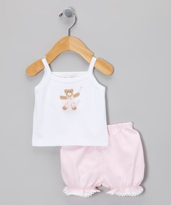 White Ballerina Bear Tank & Light Pink Lace Bloomers - Infant