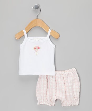 White Bouquet Tank & Light Pink Gingham Bloomers - Infant