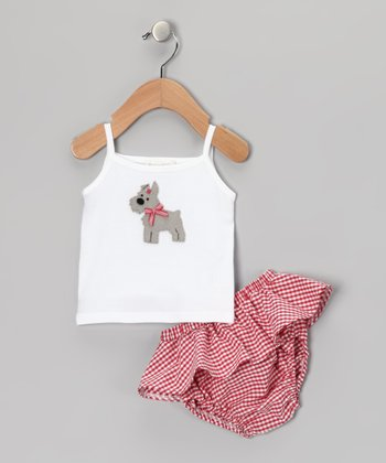 White Scottie Dog Tank & Plaid Ruffle Diaper Cover - Infant