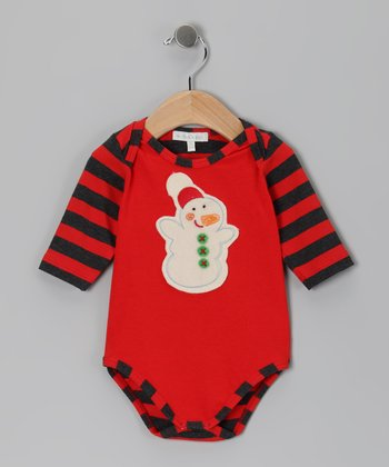 Red Stripe Snowman Raglan Bodysuit - Infant